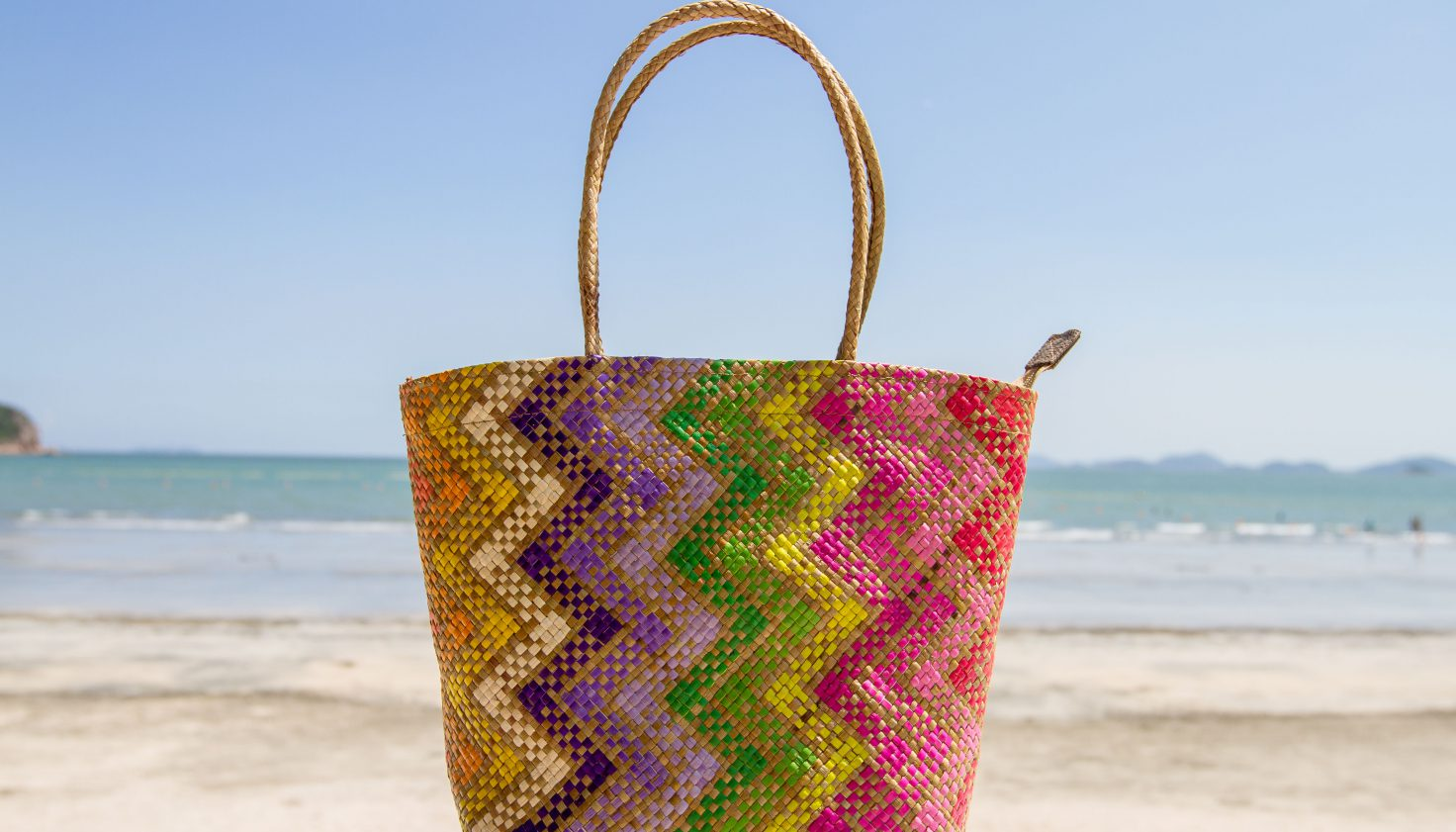 David Roden Medium Woven Abaca Rainbow Bag 2